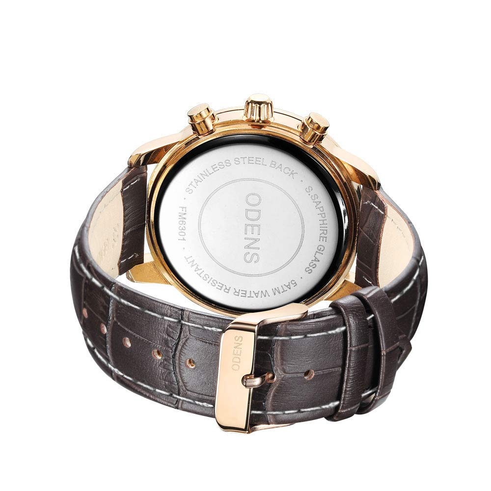 Amazon.com: Mens Big Face Black Leather Watch,Quartz Waterproof Date Week Display Analog Wrist Watches (Brown): Watches