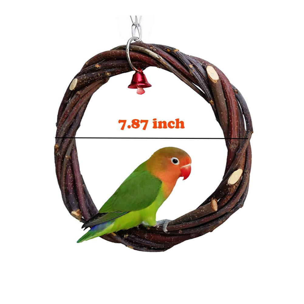 QBLEEV Round Bird Swing, Natural Branch Chewing Bird Toys, Hanging Climbing Cage Parrot Perch Play Stands for Small Parrots Lovebirds Conures Parakeets