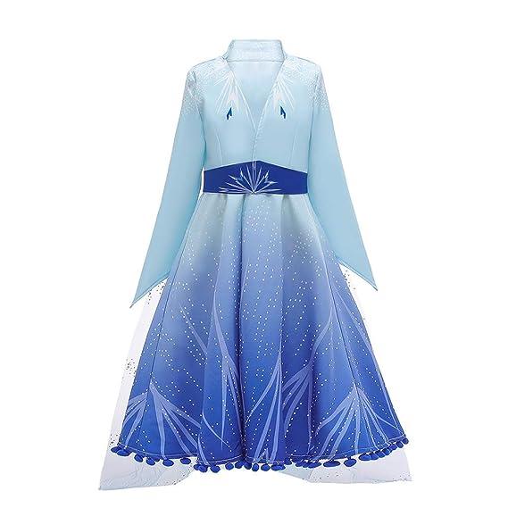 Disfraz de Princesa Elsa Frozen Vestido Largo Niñas Carnaval Traje Ice Queen Snowflake Halloween Navidad Carnaval Themed Manga Larga Infantil Nieve ...