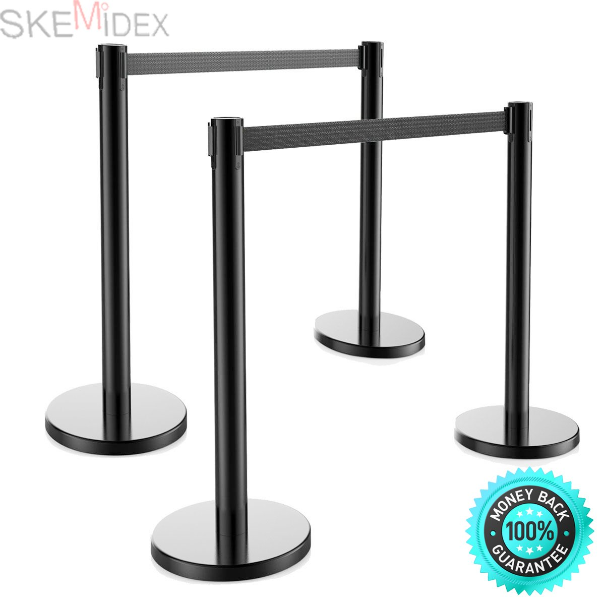 SKEMiDEX---4pcs Retractable Belt Stanchion, 2Sets, Black Belt, Crowd Control Barrier. Retractable belt stanchions are widely applied in shopping centre, hotel, bank, hospital, station, airport