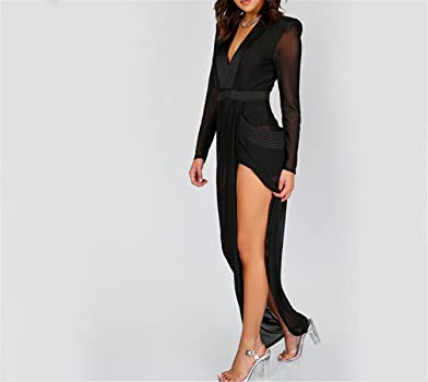 43a35fcab1 Sianze Sexy Wrap Sheer Club Dress Women Black Deep V Neck Shoulder Pads  Maxi Dresses New Casual Long Sleeve Dress