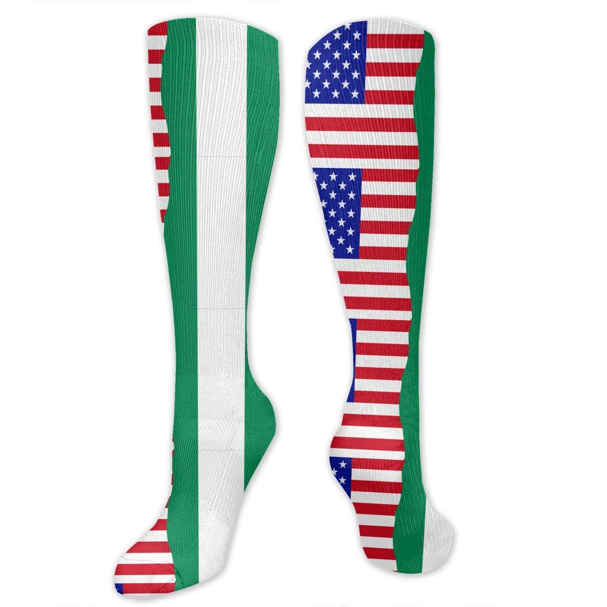 Unisex Half USA Half Nigerian Flag Knee High Compression Thigh High Socks Soft Socks