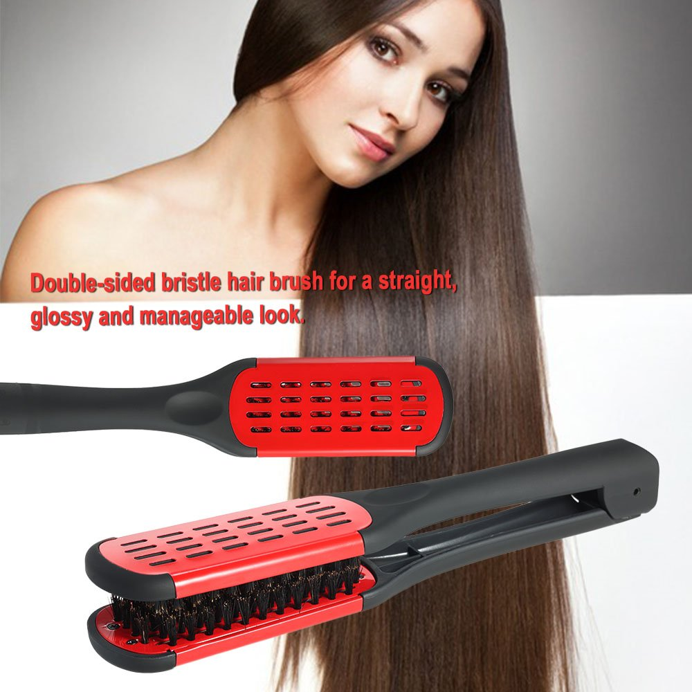 Anself Hair Straightening Comb Double Sided Bristle Hair Brush Clamp Straightener Natural Fibres