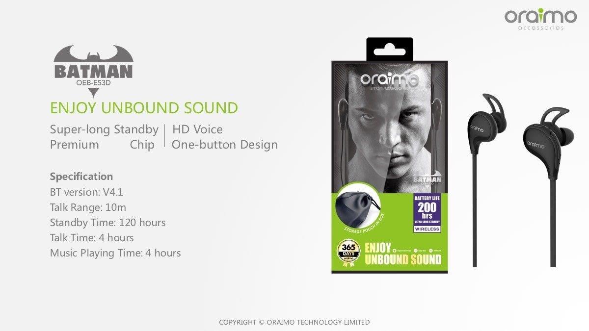 7b680490713 Oraimo Sport Wireless Headset Batman WITH EXTRA BASS: Amazon.in: Electronics