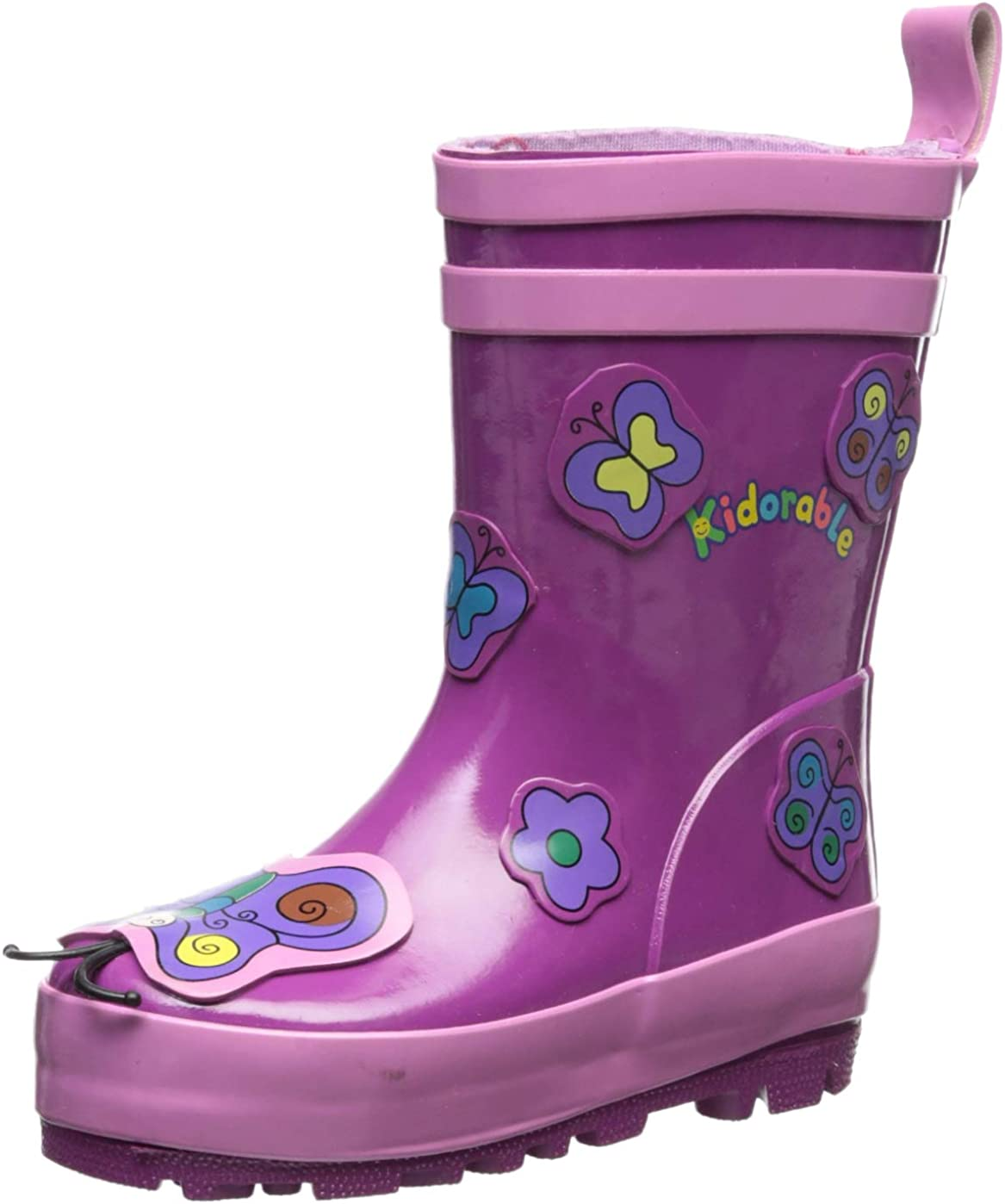 B001873BYQ Kidorable Purple Butterfly Natural Rubber Rain Boots w/Pull On Heel Tab 61tw6rpT2BiL