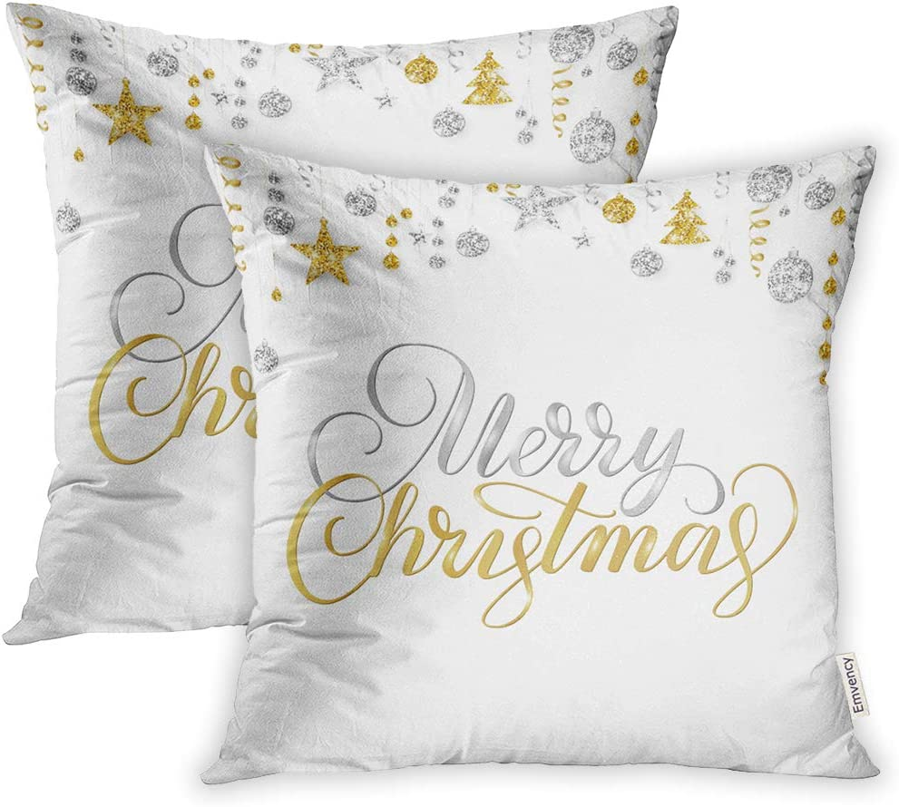 Emvency 20x20 Inch Decorative Set of 2 Throw Pillow Cover Merry Christmas Lettering On White Holiday Sparkling Gold and Silver Border Hanging Square Home Cushion Sofa Two Sides Pillow Case