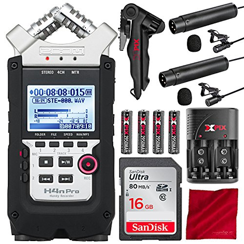 Zoom H4n Pro 4-Channel Handy Recorder with Clip-on Lavalier Omni-Directional & Cardioid Microphone Deluxe Bundle from Zoom