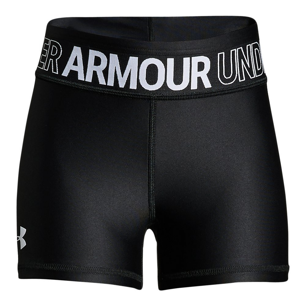 Under Armour Girls' HeatGear Armour Shorty, Black (001)/White, Youth Small by Under Armour