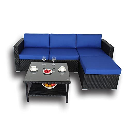 Outdoor Black Rattan Wicker Sofa Set Garden Patio Furniture Cushioned Sectional Conversation Sets-Easy Assembled Royal Blue Cushions,5 Piece