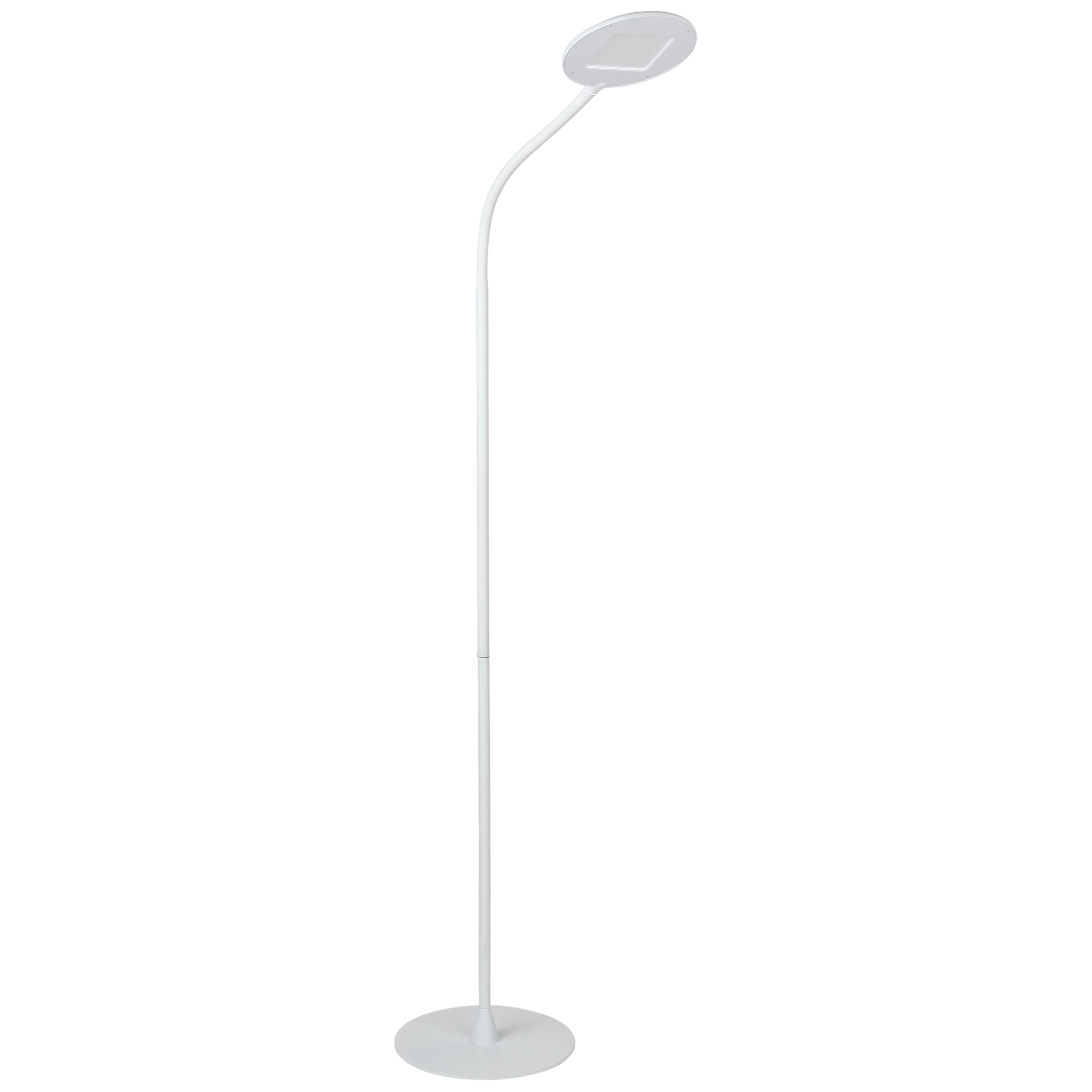 Brightech Contour Flex LED Floor Lamp for Reading, Crafts & Office Tasks – Adjustable Gooseneck & Bright, Dimmable Light Goes Beside Living Room Sofa- Contemporary Minimalist Pole Light - White