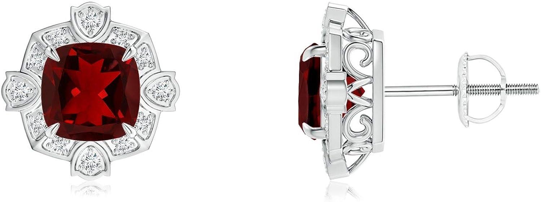 Cyber lunes–Cojín de estilo victoriano granate & Diamante Stud Pendientes