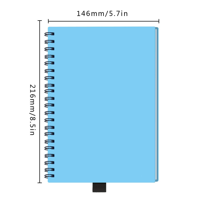 Riutilizzabile Smart Notebook PP-Blu A5 Cancellabile Taccuino Archiviazione cloud per Alunno Artchitect Giornalista Scrittore