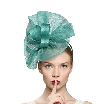 d7f8fb3c Amazon.com: VIMARO Sinamay Teal Fascinator Hats for Women Elegant ...
