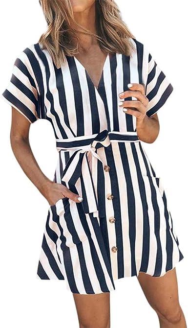 2019 Mini Vestidos Cortos Manga Corta Impreso Rayas Sexy con Profundo Escote En V Negocios Vestido Camisa con Bolsillos Botón Cordones Ajustables Vestido De Playa De Fiesta De Verano: Amazon.es: Ropa y