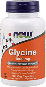 NOW Supplements, Glycine 1000mg, 100 Veg Capsules