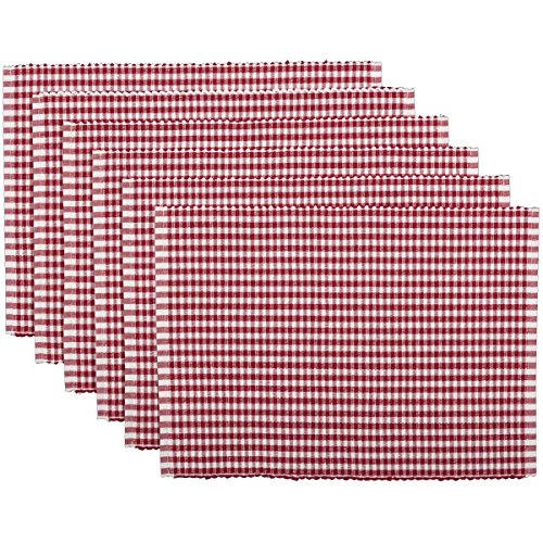 VHC Brands Americana Farmhouse Tabletop & Kitchen - Tara Ribbed Placemat Set of 6, One Size, Red