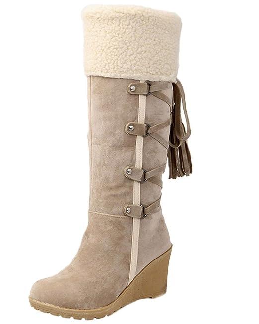 Minetom Mujer Invierno Boots Calentar Botas De Nieve Skidproof Felpa Algodón Acolchado Cuña Zapatos (EU 36, Beige)