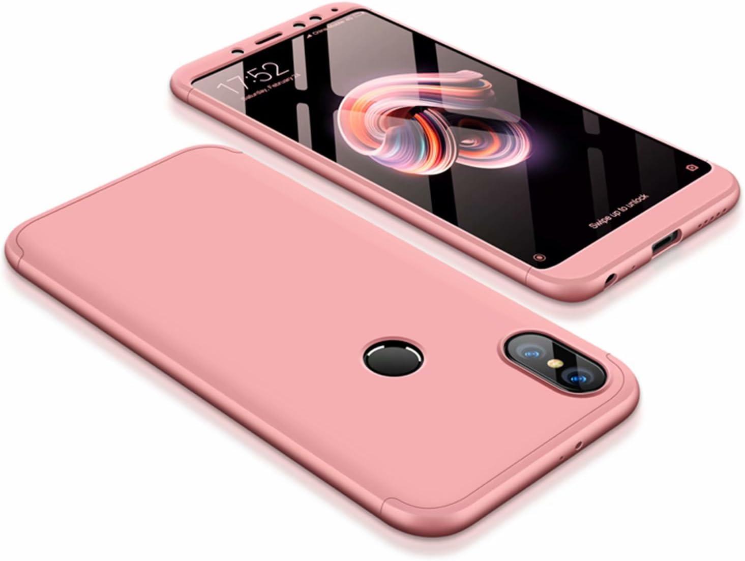 DESCHE compatibles con funda Xiaomi Redmi Note 5 Oro rosa, PC duro ...