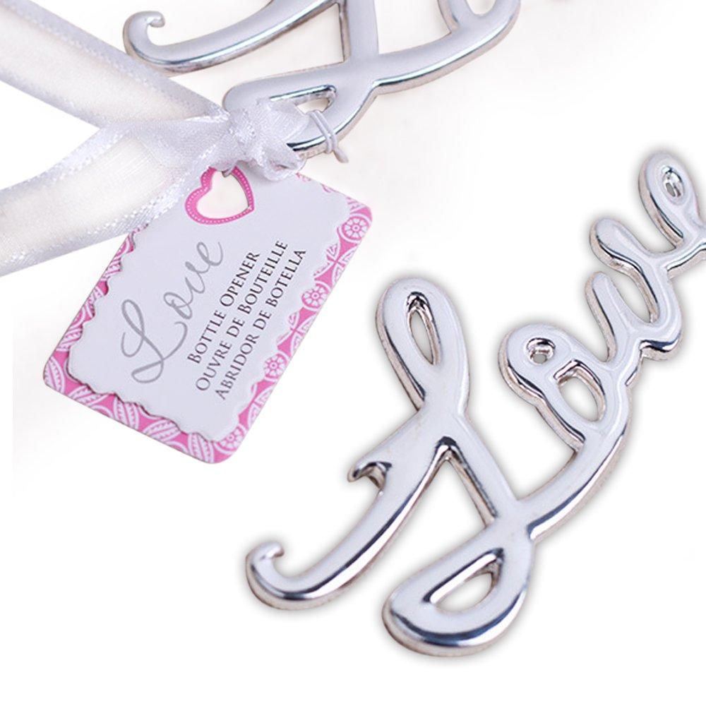 dngcity Love Antique Shaped Beer Bottle Opener Bridal & Baby Shower Wedding Favor (Silver, 20)