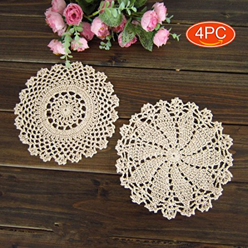 (Elesa Miracle 7 Inch 4pc Handmade Round Crochet Cotton Lace Table Placemats Doilies Value Pack, Mix, Beige (4pc-7 Inch)