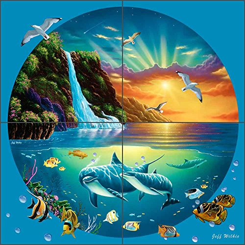 Dolphin Fish Art Tile Mural Backsplash Majestic Sanctuary III by Jeff Wilkie Ceramic Kitchen Shower Bathroom (12
