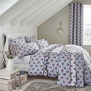 Azul Floral Mezcla De Algodón, King Size (Plain malva morado–sábana bajera de 152x 200cm + 25) 4piezas Juego de cama