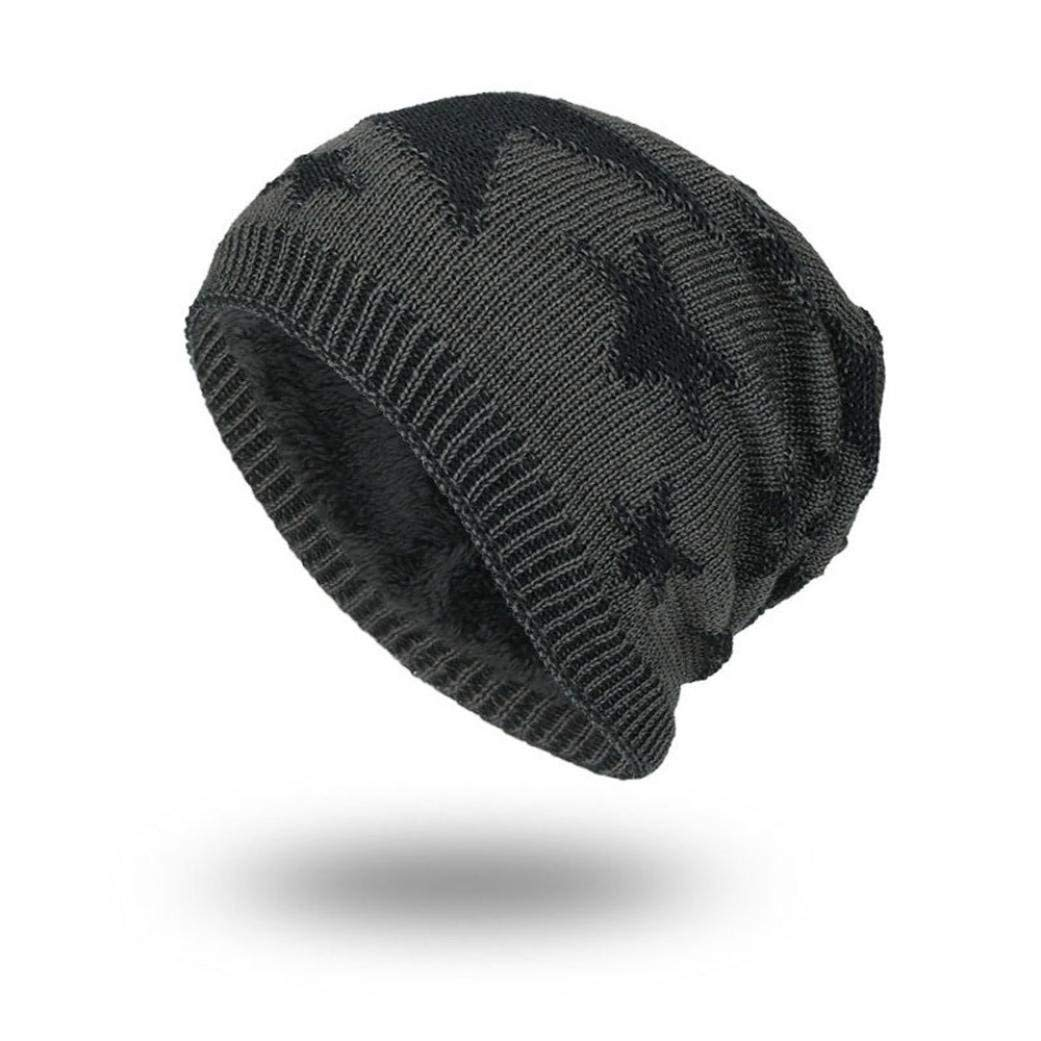 7c5001f51cf772 Hunputa Mens Hat Winter, Beanie Hat for Men and Women Winter Warm Hats Stars  Knit Slouchy Thick Skull Cap (Black) at Amazon Women's Clothing store: