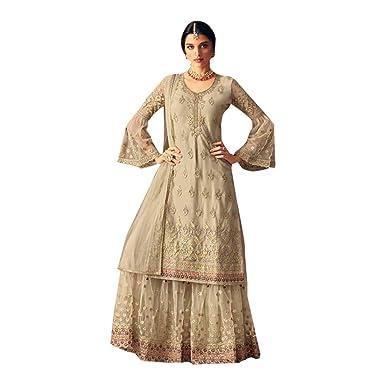 51743892a4 Amazon.com: Hit Designs Bridal Wedding Muslim Heavy Embroidery Net Sharara  Suit Women Indian Ethnic 7254: Clothing