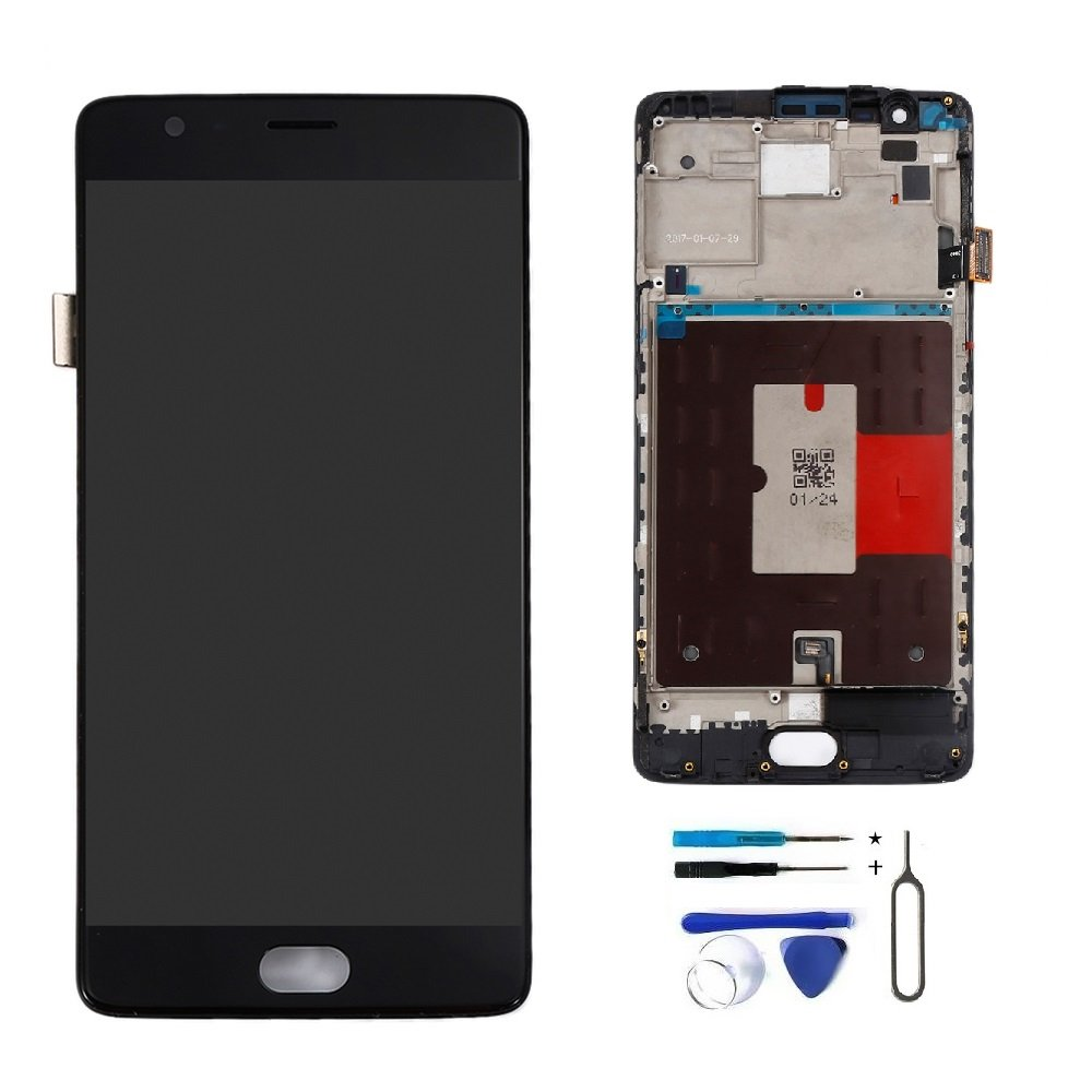 LCD Display Touch Screen Digitizer Assembly with Middle Frame for OnePlus 3T A3010 Replacement Parts + Install Tools (Black)