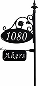 "Address America Park Place Oval Reflective 911 Home Address Sign for Yard with Name Rider on Garden Flag Post - Custom Made Address Plaque with Name - Wrought Iron Look Exclusively (47"" Post)"