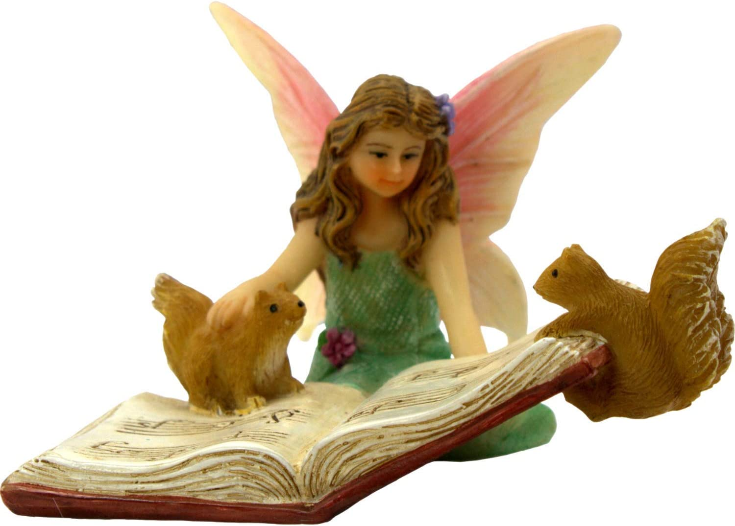 PRETMANNS Fairy Garden Fairies Accessories – Outdoor Fairy Figurine for a Miniature Garden – Sitting Fairy, Bonnie, is Holding a Music Book with Squirrels – Fairy Garden Supplies – 1 Piece