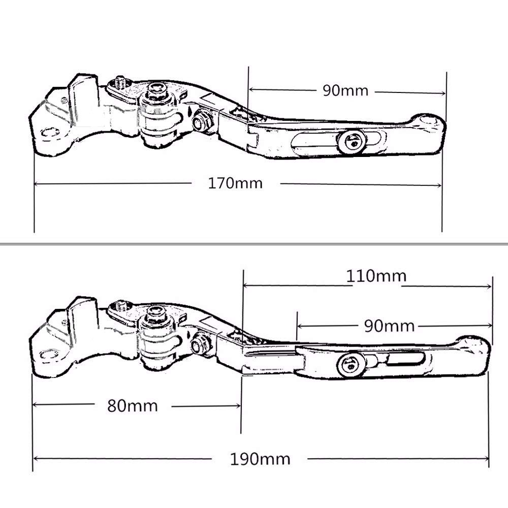 CB500F 1 Par De La Motocicleta Plegables Exdendable Freno Palancas De Embrague Compatible con Honda CBR500R GROM X 2013-2018 MSX125 2014-2018,Oro La Palanca De Embrague