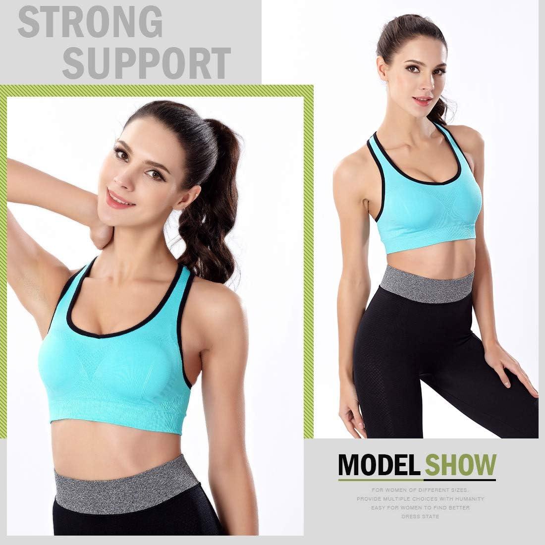 NEWHEY Sujetador Deportivo para Mujer Talla Grande Sujetadores Deportivos Yoga Sport Bra Soporte Bralette Acolchado sin Aros Negro Gris Azul Pack L XL XXL
