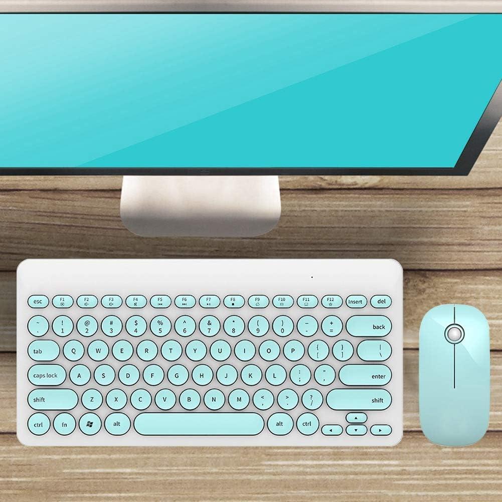 Bluetooth IK6620 2.4ghz /Multimedia Keyboard and Mouse Set Wireless Round Cap Button 90 Keys,20m Range/ Wireless Keyboard and Mouse White and Pink