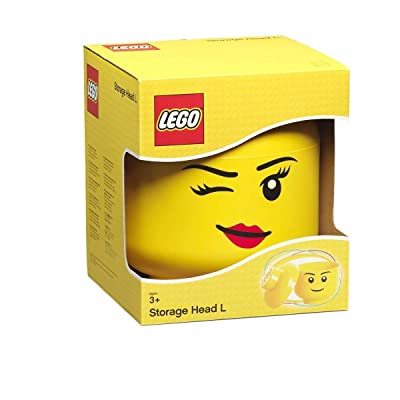 LEGO Storage Head, Large, Winking, 9-1/2 x 9-1/2 x 10-3/4 Inches, Yellow: Industrial & Scientific