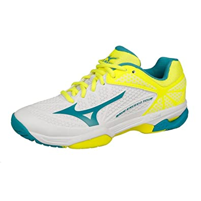 best service ec593 1f363 Womens Mizuno Wave Exceed Tour 2 AC All Court Shoe Women - White  Yellow -  6  Amazon.co.uk  Shoes   Bags