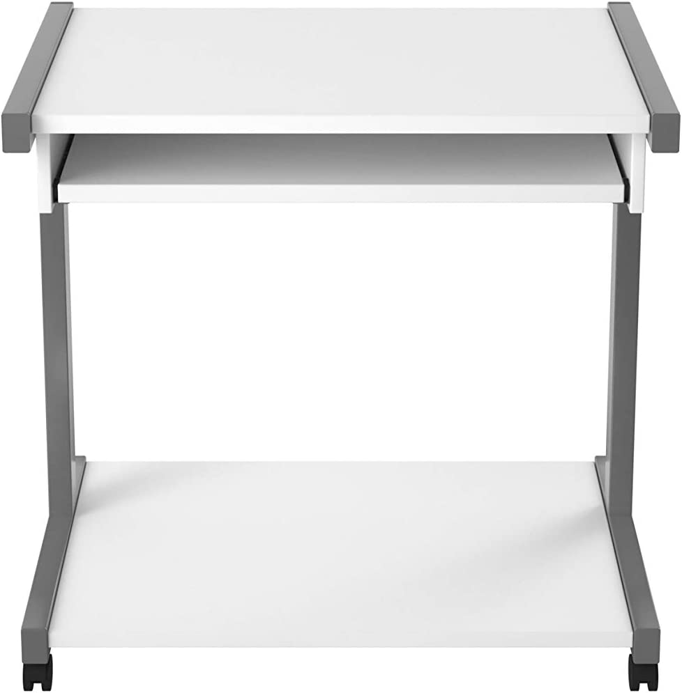 79.4 x 51 x 76.5 cm Office Hippo Mobile Home Office Desk With Pull Out Shelf White
