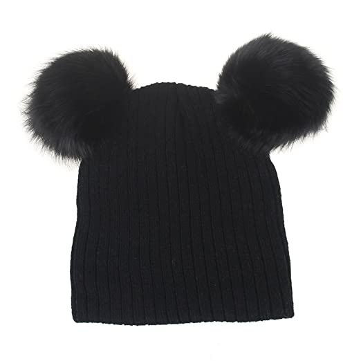 b0b4730bab2 Image Unavailable. Image not available for. Color  Tinksky Winter Knit  Beanie Bobble Hat Cap with Double Pom Pom Ears Christmas Gift for Baby