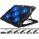 PCCOOLER Laptop Cooling Pad, Portable Laptop Stand with 6 Angle Adjustable & 5 Quiet Blue LED Fans for 12-17.3 Inch…
