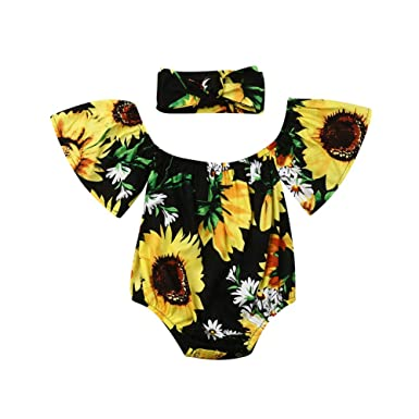 27aadc671 Newborn Infant Baby Girls Sunflower Romper Off Shoulder Fly Sleeve Bodysuit  Jumpsuit Sunsuit with Headband Summer