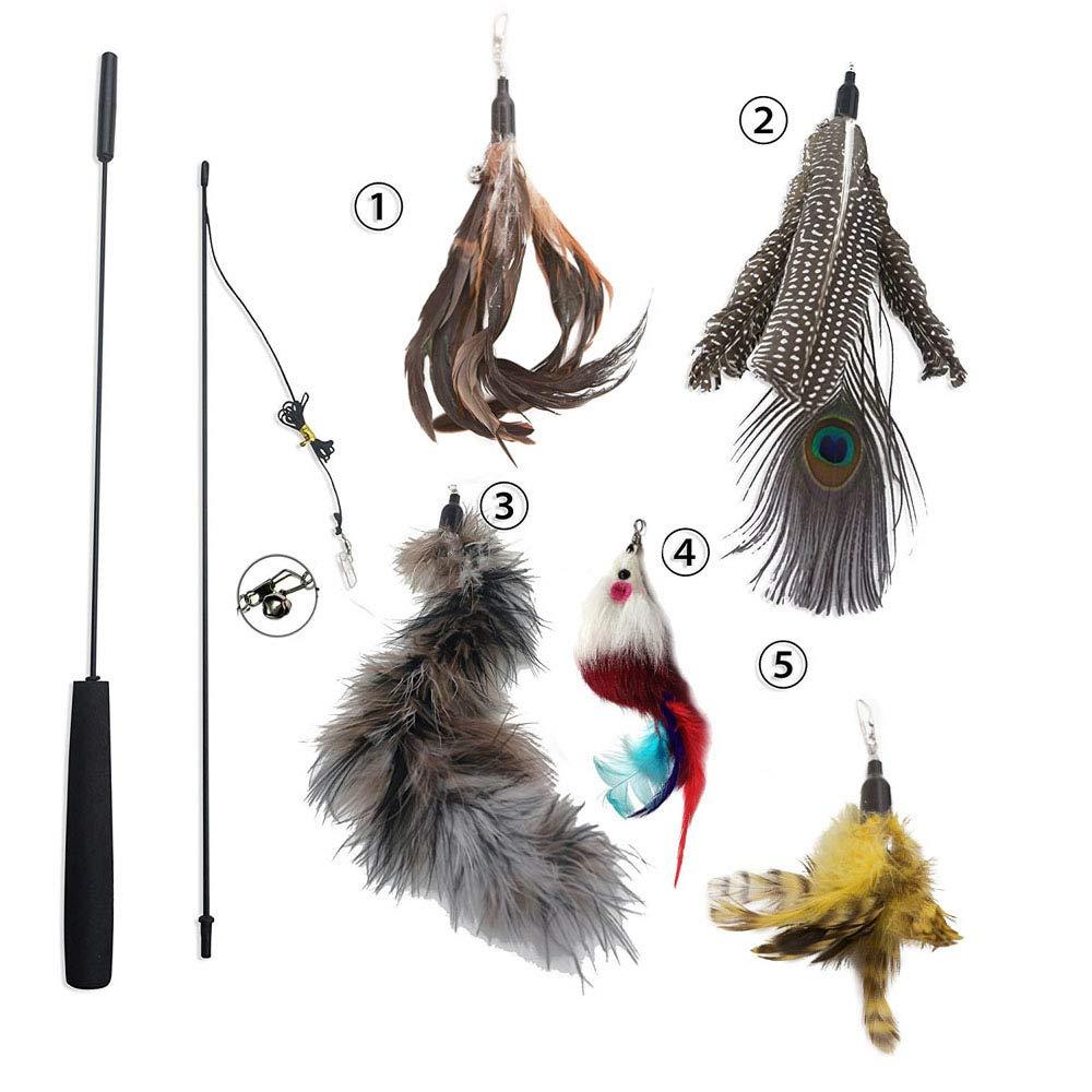 Cat Dangler Toy Training Télescopique interactif rétractable Naturelles plume Wand Cat Toy avec 3 recharges de plumes (80cm) AIDIYA