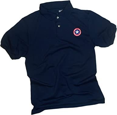 Captain America Shield Bordado Logo -- Marvel Comics Adulto Polo ...
