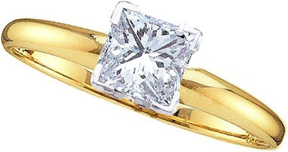 DazzlingRock Collection - Anillo de compromiso para mujer (0,20 quilates (Ctw) de oro amarillo de 14 quilates, diamantes blancos de 1/5 quilates