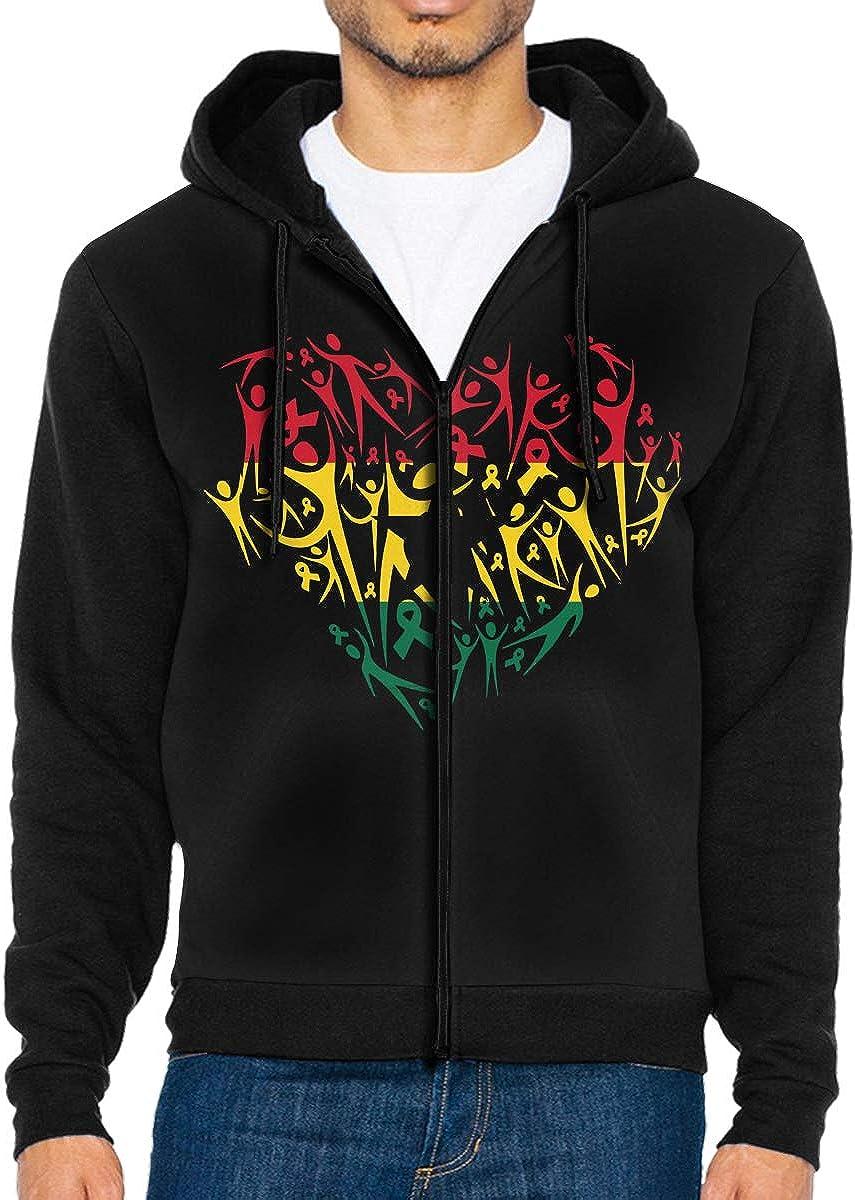 Mens Breast Cancer Awareness Ghana Flag Full Zip Fleece Hooded Sweatshirt
