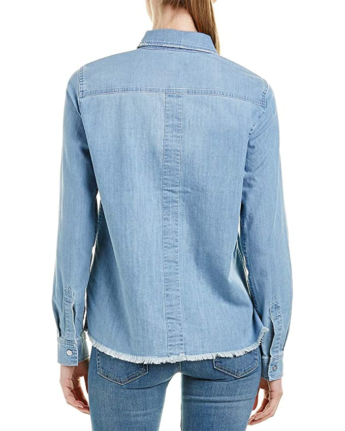 06ee069a762 Amazon.com  7 For All Mankind Womens Step Hem Denim Shirt in Skyway  Authentic Blue  Clothing