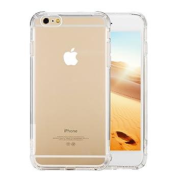 Funda para iPhone 6 Plus/6s Plus Transparente,TPU Carcasa,Caso Anti-Amalillas,Arañazas,Golpes,Polvo,Case Suave Silicona Pantalla Protector
