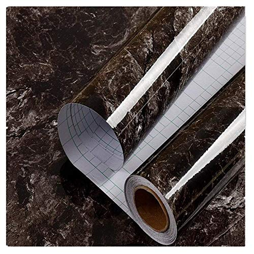 (DHHOUSE Black Brown Marble Look Contact Paper Film, High Glossy Granite Effect Vinyl Self Adhesive Counter Top 24in x)