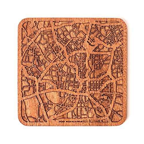 San Antonio Map Coaster by O3 Design Studio, 1 piece, Sapele Wooden Coaster With City Map, Handmade, Multiple city optional -