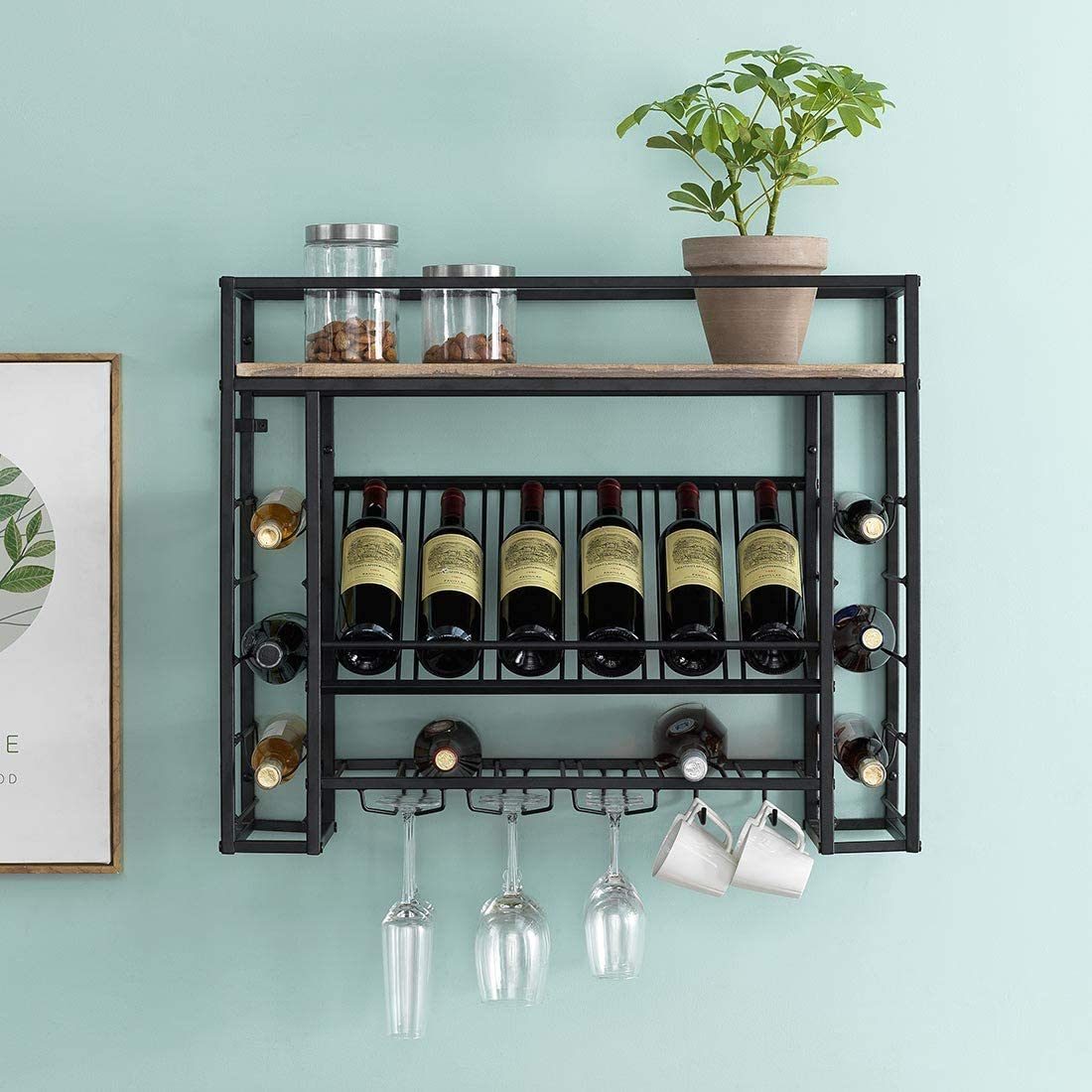 "O&K FURNITURE 31"" Industrial Wine Racks Wall Mounted with Stem Glass and Mug Holder, Hanging Wine Racks for Wine Bottles, Wine Display Storage Wall Rack, Brown"