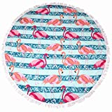 lei xiao jie Same Pattern Different Quality 2018 New Developed Material Thick Round Beach Towel Round Beach Blanket 100% Microfiber Terry Quality Tassels 62 Inches Stripe Flamingo